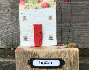 Pip house -  .. strawberry house and garden, salvaged wood art, housewarming gift, home, rustic decor botanical home red door