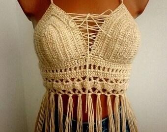 CROCHET CROP TOPS Sexy Bustier Art Crochet Summer Backless Halter Tank Boho Bikini Festival Top Fringed Corset Gift 091р 855g