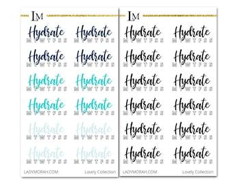 Water Intake Sticker - Black - Planner Stickers - Hydrate