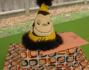 Curious Monkey  Birthday Party Hat   New Item-Intro Pricing