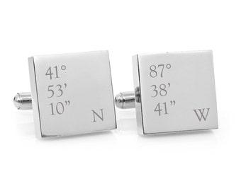 Co-ordinates - Latitude and longitude engraved square silver cufflinks - Groom, anniversary, wedding gift