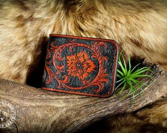 Tooled Leather Wallet - Western Sheridan Floral Scrollwork Billfold