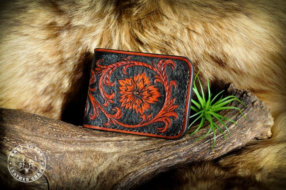Tooled Leather Wallet - Western Sheridan Floral Scrollwork Billfold