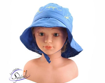 kid and baby summer hat, travel hat, beach hat, royal blue with handpainted salamenders