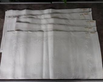 "8 Vintage Damask Linen Napkins - 19.5"" x 20"" - UNUSED NOS - MI Czechoslovokia"