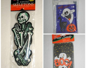 Vintage Paper Skeletons and Trick or Treat Candy Bags - Halloween Home Decor Items