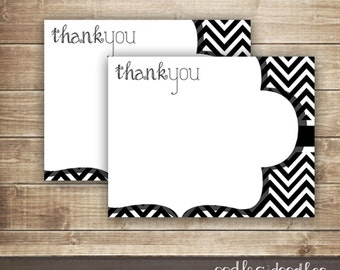 Chevron Thank You Notes / Black and White Chevron/ Flat Thank You Note Cards /  Printable Stationery / INSTANT DOWNLOAD - Printable