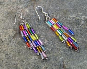 Festive Beaded Brick Stitched Earrings, hypoallergenic earrings, Native American earrings, Colorful earrings, Beaded earrings, womens wear