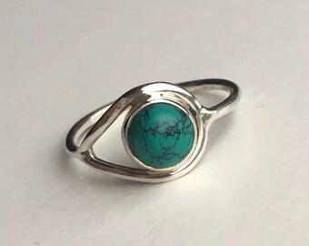 925 Sterling Silver Ladies Turquoise Gemstone Ring