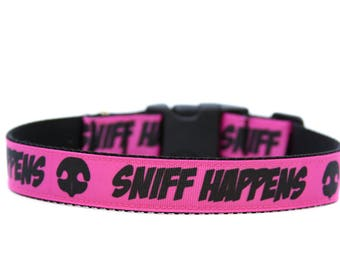 1 Inch Wide Dog Collar with Adjustable Buckle or Martingale Nosework Sniff This in Pink