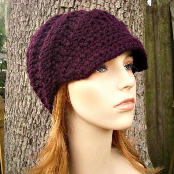 Knit Hat Womens Hat Purple Newsboy Hat - Swirl Beanie with Visor in Eggplant Purple Knit Hat - Purple Hat Purple Beanie Womens Accessories
