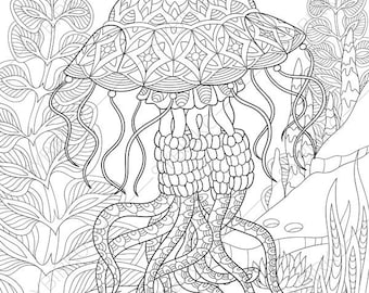 Jellyfish. Jelly Fish. 2 Coloring Pages. Animal Coloring Book Pages For  Adults. Instant Download Print