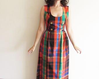 Vintage Beautiful 70s African Plaid Taffeta Formal Dress