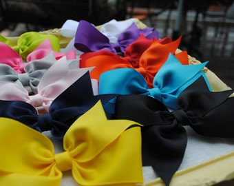 "Simple School Uniform Bows - Buy 5 Get 1 FREE - You Pick 6 Colors - Half Pinwheel Hairbow - 4.5"" Hair Clips - Basic Bow - Flat Hair Bow Set"