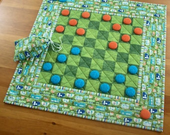 Glamper RV Quilted Checkerboard Game Camper Checkers Set | Glamping RV Airstream Checkers Travel Game Board | Camper Checkers Activity Quilt