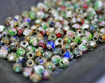 Chinese Cloisonne Beads Small 3mm Multi Color Mixed Bag Cloisonne Bead Enamel Beads Metal Beads (Approx 145 beads) CL33