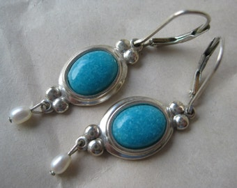 Turquoise Dangle Pearl Sterling Earrings Pierced Wire Silver Vintage 925 CCO
