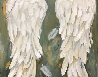 Angel Wings Painting  on canvas  Sage Green background