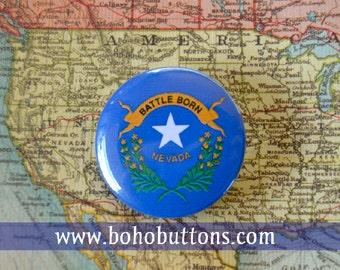 Nevada State Flag Pinback Button, Magnet, Badge, Nevada Button, Nevada gift, Las Vegas Pin, Souvenir Gift, Traveler Reno Nevada Keychain