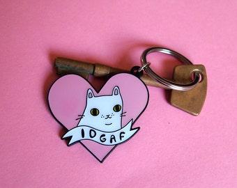 Enamel IDGAF Cat Keyring - I like cats - Keyring - Cat kering - Enamel keyring - Cats - Cat gift - Keychain - Cat illustration - e