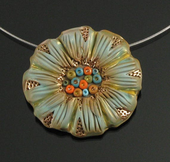 Floral Statement Necklace & Brooch, Polymer Clay Flower Pendant Necklace, Nature Jewelry, Earthy Art Jewelry, Handmade Gift for Gardener