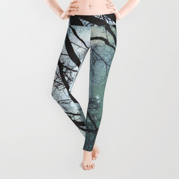 Starry Night Leggings, Trees Yoga Pants, Unique Fashion, Stars Yoga Leggings, Women, Teen Active Wear, Running Pants, Jogging Pants, Surf