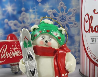 Polar Bear with Skis Christmas Ornament