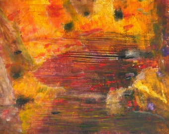 Acrylic Original Abstract Painting On Paper Yellow Red Abstract River Painting Red River Acrylic Painting Contemporary Fall Colors Abstract
