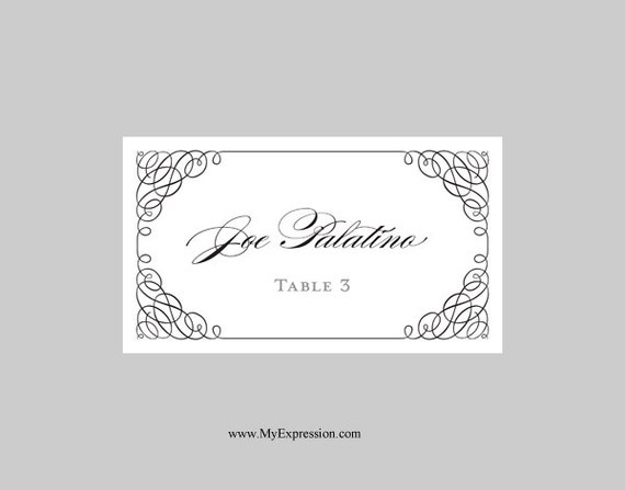 wedding place cards template folded calligraphy corners