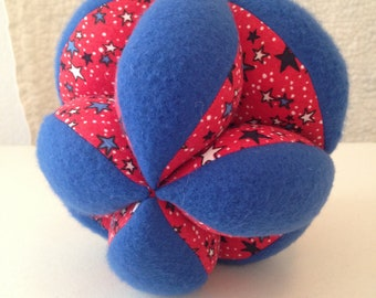 Infant Montessori Puzzle Ball. Colorful Geometric Baby Clutch Ball. Sensory Learning Toy. Soft Cloth Ball, Safe for indoor Baby Play