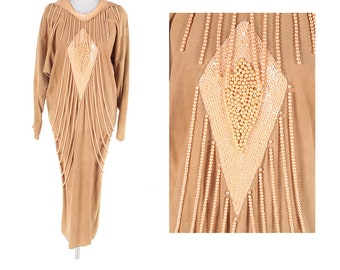 Vintage Cache Suede Hand Beaded 20's Gatsby Caftan Art Deco Style Flapper Jazz Age Maxi Dress with Dolman Sleeves Size Small Medium Large