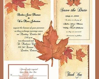 Fall Leaf  Design Wedding  Invitation Package Editable Download