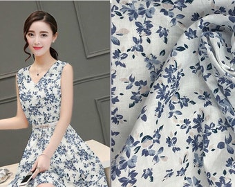Linen Cotton 58/42 White Navy Blue with Pink Mini Flower Floral Print Fabric