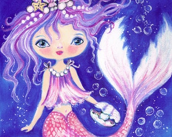 "Mermaid ""Adella"" from original acrylic painting on canvas. Pink, Purple, Blue, Seashells, Crown"