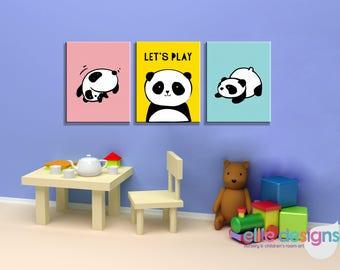 Panda Wall Art, Playroom Decor, Printable Wall Art, Canvas Art, Nursery Wall Art, Nursery Decor, Kids Room Wall Art, Panda Nursery Prints