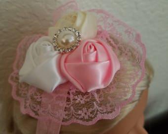 Silk and lace rose headband