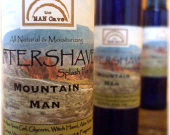AFTERSHAVE  - MOUNTAIN MAN - All Natural Face Conditioner with Soothing Aloe, Green Tea and Chamomile by Man Cave Soapworks