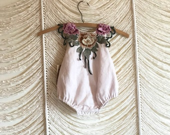 Gorgeous cream linen, floral, lace-collared romper - Ready to ship