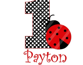 Miss Ladybug Birthday Number Digital Download for iron-ons, heat transfer, Scrapbooking, Cards, Tags, DIY, YOU PRINT