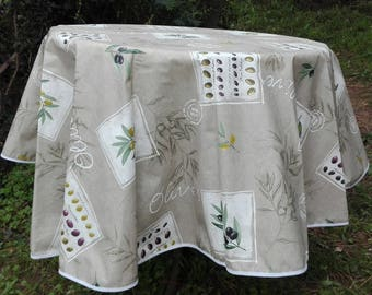 Coated cotton round Provencal tablecloth olive beige patch 160 cm in diameter