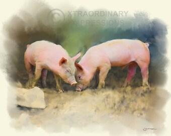 Original Art, 8x10, Piglets, Best Buddies