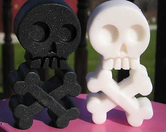 Skull & Crossbones Soap - YOU PICK ONE Scent - 4 Piece Total - Vegan Bath Guest Decorative day of the dead black white