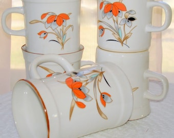 Stoneware 4 Mugs and Creamer Coffee Set Royal Prestige Shogun Pattern Soft Shades of Coral Blue & Orange REDUCED PRICE