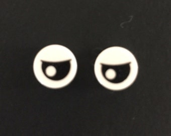 Black Eye with Pupil Partially Closed Pattern Round Stud Earrings