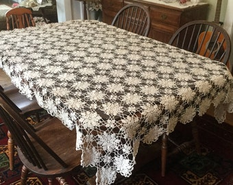 Hand Crochet Lace Tablecloth  Vintage Salvaged Linens Handmade Table Cover Repair Needed Craft Cutter or NOT