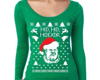 Ugly Christmas Sweaters Got HO HO Hodor Women's Long Sleeve Shirt Inspiration Christmas Gift Size S,M,L,XL,2XL,3XL