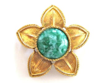 Vintage Monet Flower Brooch Green Turquoise Gold Tone Pin Pendant Focal Bead