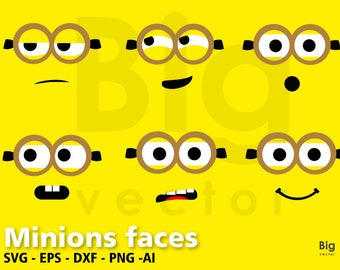 Minions faces SVG Png EPS AI Dxf, minion face, despicable me minion svg, cutting file, Printable, T-shirt Design,Lego Vector Files