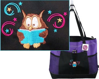 Academic Owl Gemline Select Zippered Tote Bag Library Librarian Book Club Custom Embroidered + Free Name
