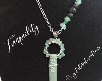 Aventurine Necklace, Lava Necklace, Essential Oil Necklace, Wire Wrapped Pendant, Gemstone Necklace,Diffuser Necklace, Aromatherapy Necklace